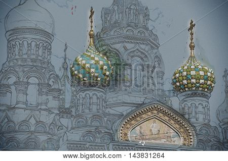 Church of the Savior on Blood in Saint-Petersburg, Russia. One of the main touristic attractions in the city. Vintage painting, background illustration, beautiful picture, travel texture