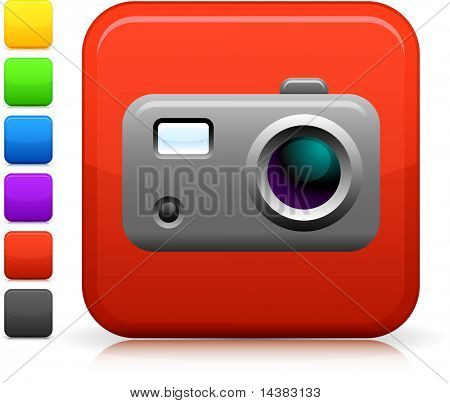 icon on square internet button  Six color options included.