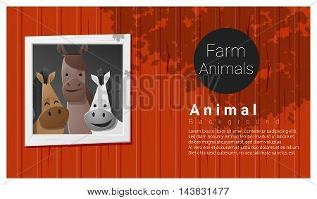 Farm animal background with horse , vector , illustration