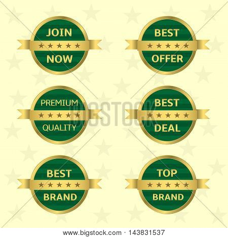 Green label with golden ribbon set. Best brand Top brand Best deal Premium quality Best offer Join now