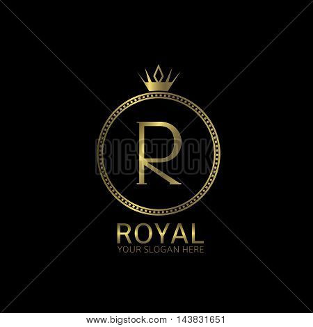Royal golden label. Letter R, luxury symbol
