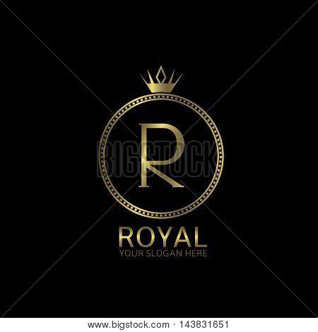 Royal golden label. Letter R, luxury symbol