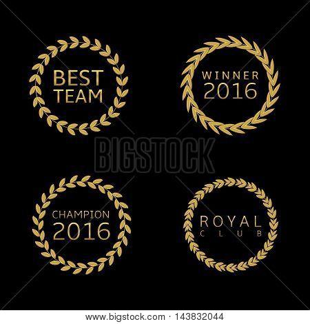 Golden label set. Award symbols, Best team Winner 2016 champion 2016 Royal club