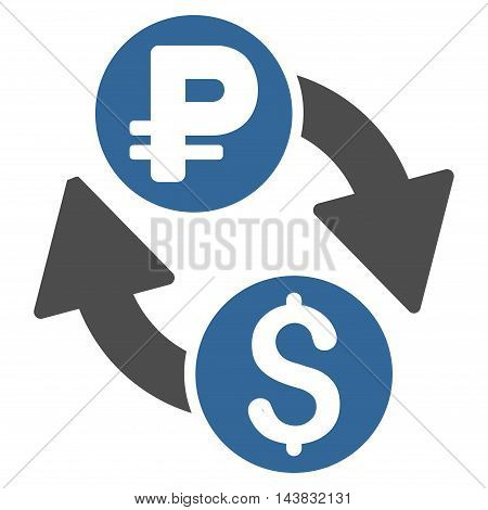 Dollar Rouble Exchange icon. Vector style is bicolor flat iconic symbol with rounded angles, cobalt and gray colors, white background.