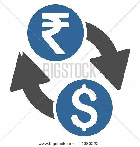 Dollar Rupee Exchange icon. Vector style is bicolor flat iconic symbol with rounded angles, cobalt and gray colors, white background.
