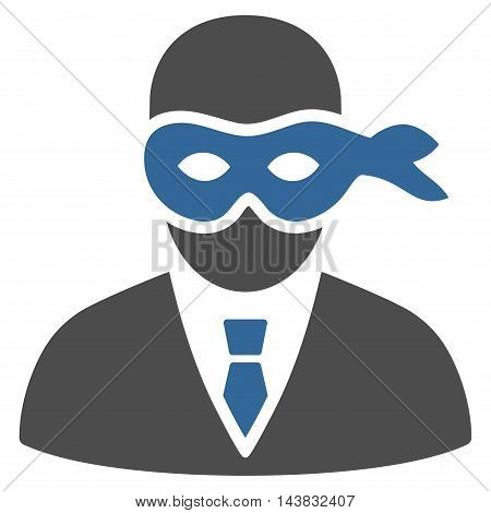 Masked Thief icon. Vector style is bicolor flat iconic symbol with rounded angles, cobalt and gray colors, white background.