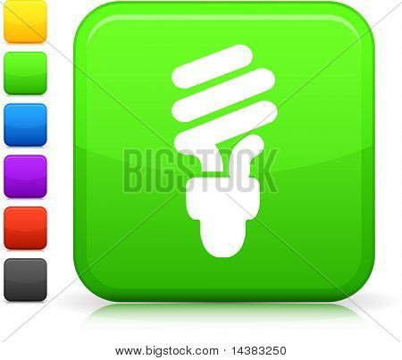Light Bulb icon on square internet button  Six color options included.