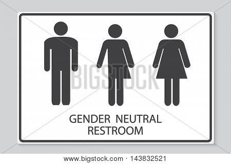 Gender neutral restroom sign illustration