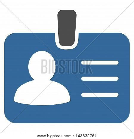 Person Badge icon. Vector style is bicolor flat iconic symbol with rounded angles, cobalt and gray colors, white background.