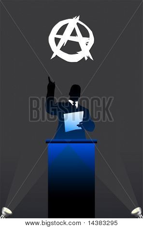 flag with political speaker behind a podium  Original vector illustration. Ideal for national pride concepts.