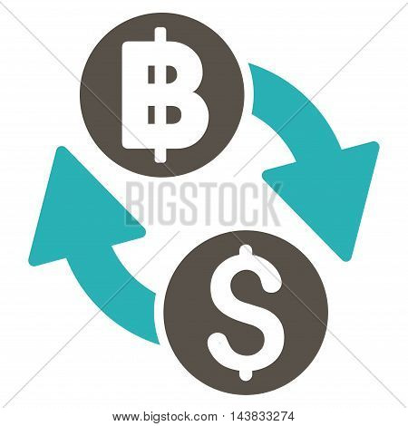 Dollar Baht Exchange icon. Vector style is bicolor flat iconic symbol with rounded angles, grey and cyan colors, white background.