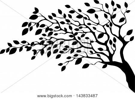 Leafy tree silhouette on white background from side - vector illustration.