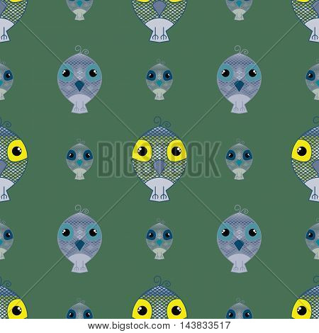 Green seamless pattern owl background. Simple and cute illustration