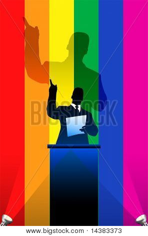 Gay Pride flag with political speaker behind a podium  Original vector illustration. Ideal for national pride concepts.