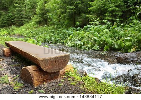 Wooden bench in mountain forest
