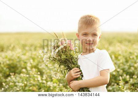 Happy little boy with flowers in the field