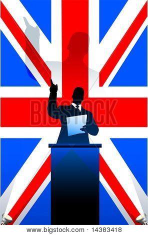 British flag with political speaker behind a podium  Original vector illustration. Ideal for national pride concepts.