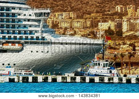 Cruise ships at port of Kusadasi, Turkey