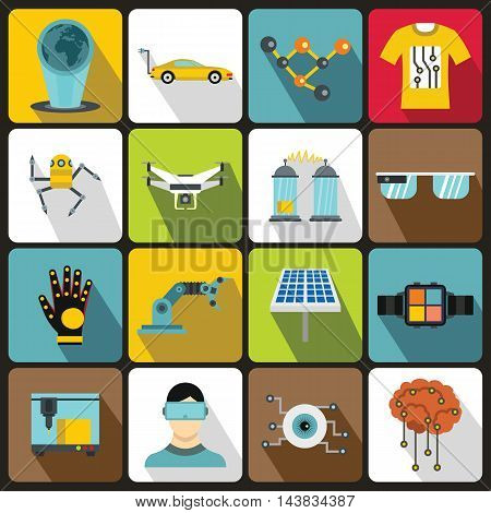 New technologies icons set in flat style. Innovative app and gadget set collection vector illustration