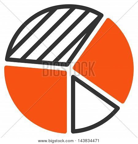 Pie Chart icon. Vector style is bicolor flat iconic symbol with rounded angles, orange and gray colors, white background.