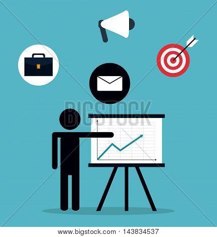 pictogram megaphone target envelope suitcase teamwork support collaborative unity icon. flat design. Vector illustration