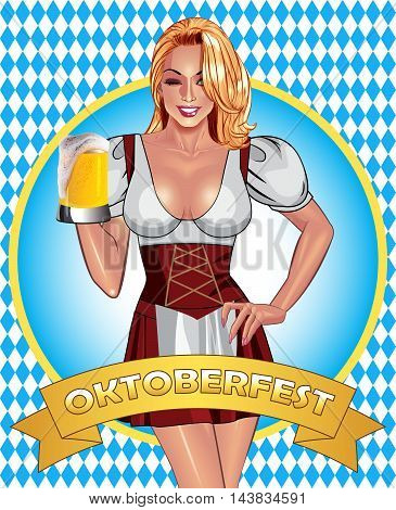 Oktoberfest poster design. Beautiful smiling sexy blonde girl in traditional oktoberfest waitress dress holding misted mug of golden beer. Oktoberfest party and fun concept.