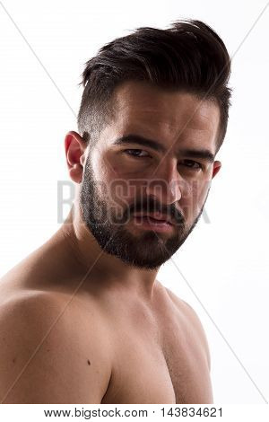 Closeup portrait of naked handsome hipster man with bear looking at camera isolated on white background in studio.