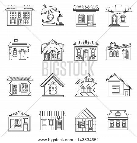 House set in outline style. Private residential architecture set collection vector illustration