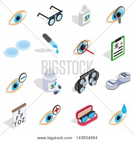 Optometry icons set in isometric 3d style. Care and eye health set collection vector illustration