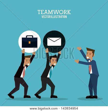 avatar businessman suitcase envelope teamwork support collaborative unity icon. flat design. Vector illustration