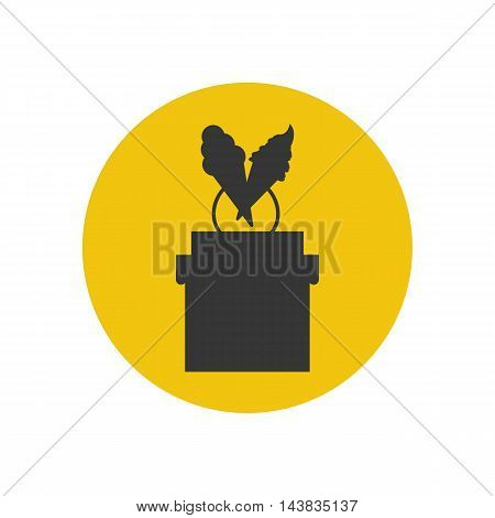 Ice cream shop silhouette on the white background. Vector illustration