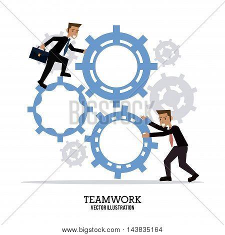 avatar businessman gear teamwork support collaborative unity icon. flat design. Vector illustration