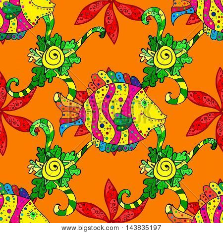 Orange background with green floral doodlesn and doodles fishes.