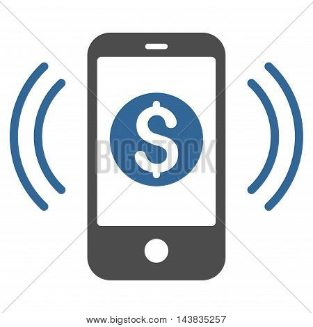 Payment Phone Ring icon. Vector style is bicolor flat iconic symbol with rounded angles, cobalt and gray colors, white background.