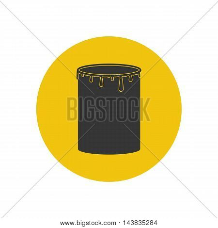 Paint can illustration on the yellow background. Vector illustration