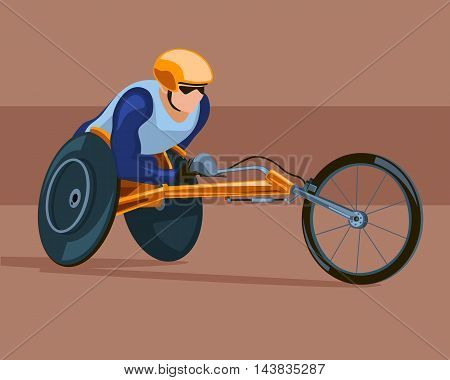 Racing on the sports wheelchair. Competitions of people with disabilities. Vector stock illustration.
