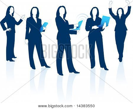 Original Vector Illustration: Young business woman silhouettes AI8 compatible