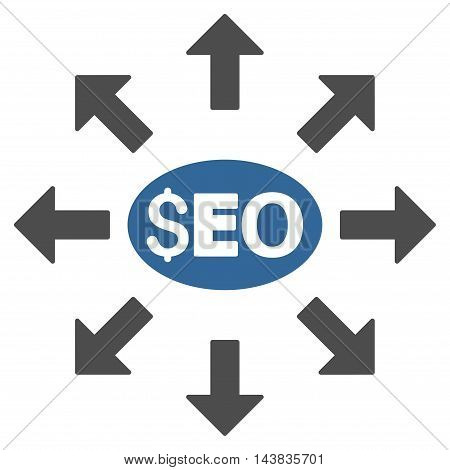 Seo Distribution icon. Vector style is bicolor flat iconic symbol with rounded angles, cobalt and gray colors, white background.