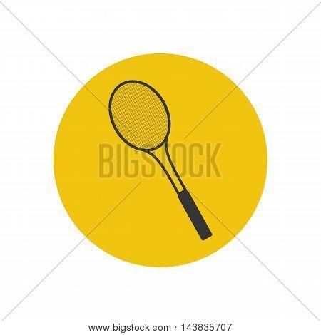Tennis racket illustration on the yellow background. Vector illustration