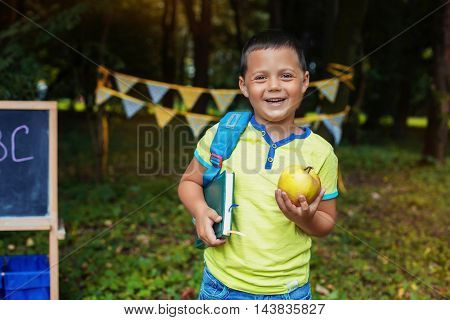 happy little boy goes to school. The concept of training and education