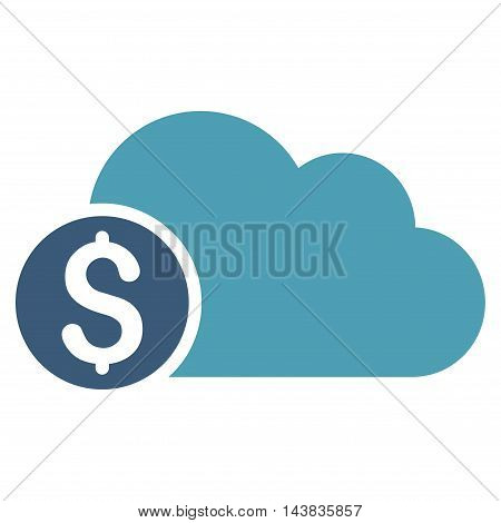 Banking Cloud icon. Vector style is bicolor flat iconic symbol with rounded angles, cyan and blue colors, white background.