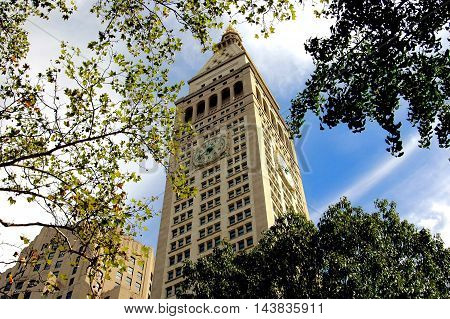 New York City - September 24 2005 The iconic 1909 Metropolitan Life Insurance Company tower overlooks Madison Square at East 23rd Street