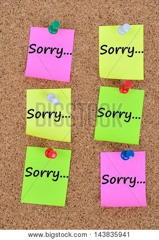 The word Sorry on colorful notes closeup