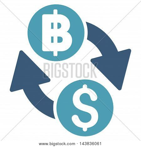 Dollar Baht Exchange icon. Vector style is bicolor flat iconic symbol with rounded angles, cyan and blue colors, white background.