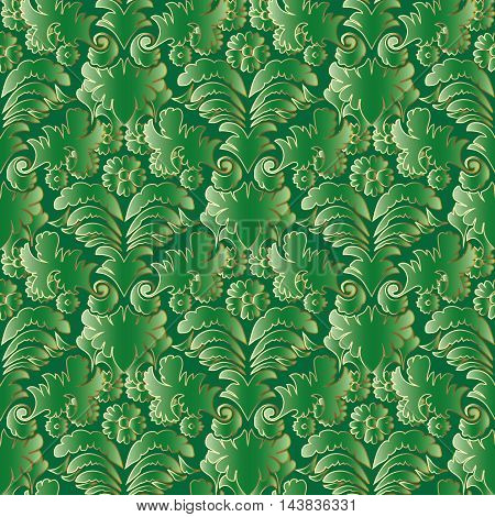 Bright green emerald baroque vector seamless pattern background with vintage volumetric ornaments and gold outline. Stylish luxury illustration and 3d vintage decor elements with shadow and highlights. Endless elegant texture.