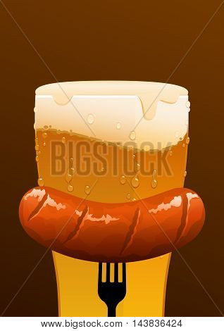 glass of cold beer and a sausage on a brown background