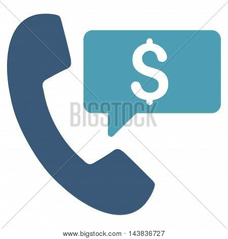 Phone Order icon. Vector style is bicolor flat iconic symbol with rounded angles, cyan and blue colors, white background.
