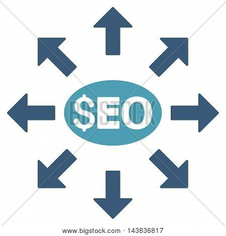Seo Distribution icon. Vector style is bicolor flat iconic symbol with rounded angles, cyan and blue colors, white background.