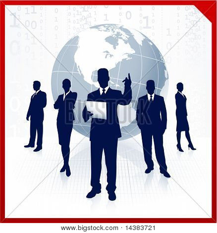 Original Vector Illustration: Business team background with globe AI8 compatible