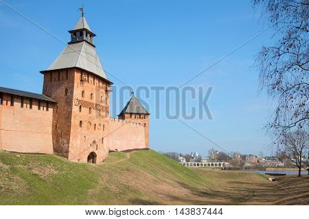 Sunny april day near the walls of ancient Kremlin. The historic centre of Velikiy Novgorod Russia
